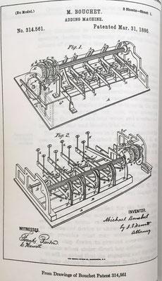 Sumadora de Michael Bouchet, patente del año 1885