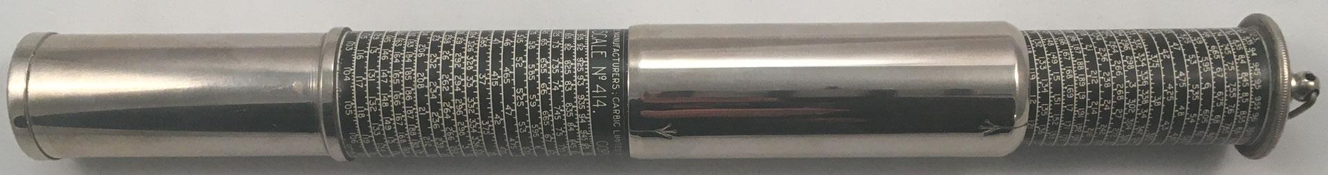 OTIS KING'S Poket Calculator, Modelo K tipo III, escalas nº 414 y nº 423, s/n 5230, made in England, año 1923, 3 cm diámetro (longitud: 15 cm cerrada, 26 cm desplegada),  (precio estimado: 150€)