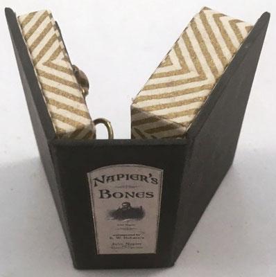 Detalle del conjunto de huesos de Napier en forma de mini-libro