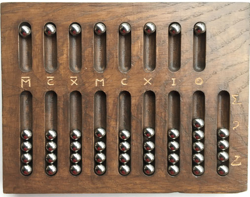 réplica ábaco romano primitivo de bolas, madera, 20x15 cm