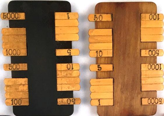 Pareja de anotadores de puntuación para el juego de cartas BEZIQUE