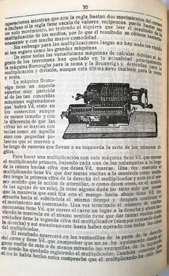 Analiza también  las calculadoras mecánicas e incorpora la imagen de una de la marca alemana Brunsviga
