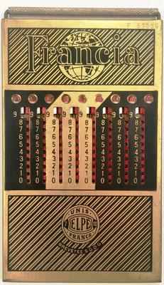 Ábaco de ranuras FRANCIA, con 3 columnas para decimales (muy raro), fabricado por Le Girondin-Unis (Unis =Union Nationale Inter Syndicale) France, Elpé (2-193), sin s/n,  año 1926, 8.5x15 cm