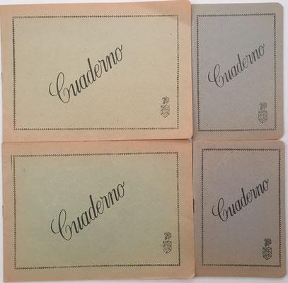 Cuatro cuadernos escolares para problemas de matemáticas, años 1960, 21x15.5 cm y 10x15 cm