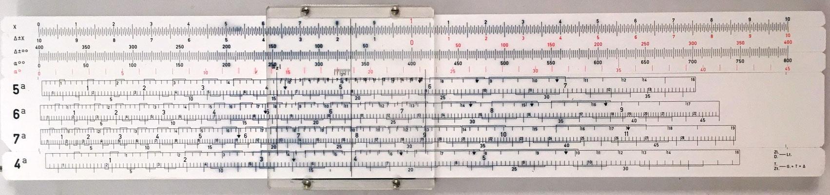 Regla de artillería ARISTO 90119 (escalas 5ª, 6ª, 7ª), sistema RIVERA