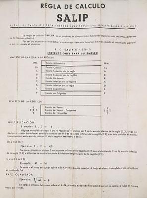 Instrucciones de uso de la regla de cálculo SALIP nº 250-3