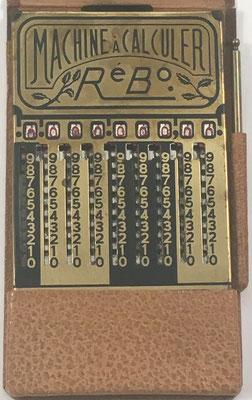 Ábaco de ranuras RéBo unis-France, fabricado por S. Reybaud, ingénieur, en Marsella (Francia), año 1920, 9x14 cm