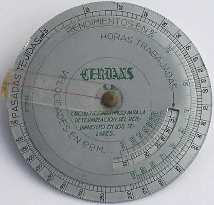 Anverso: regla Cerdans para determinar el rendimiento de telares, 10 cm diámetro