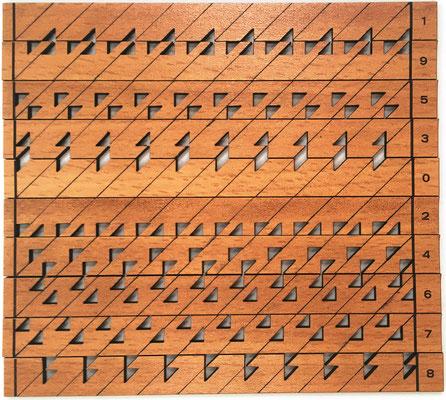 Conjunto demostrativo del PROMPTUARIO de Napier para multiplicaciones complejas de dos números con varios dígitos cada uno. 10 varillas LECTORAS de una cara, de 1.3x14.5 cm cada una