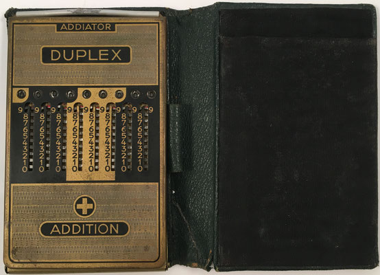 Ábaco de ranuras ADDIATOR DUPLEX, sin s/n, anverso addition, año 1950, 8.5x12.5 cm