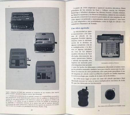 Páginas 20 y 21 del catálogo: calculadoras mecánicas y una eléctrica