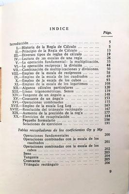 Índice del libro La Regla de Cálculo, R. Dudin, 1960