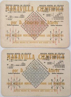 Dos ejemplares de la tarjeta MARAVILLA CIENTÍFICA, proceso mental de cálculo, Eduardo de Atarés, basado en el método de Rosendo BOTELLA VERT (1915), año 1920, 15.6x10.6 cm