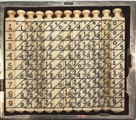 Ábaco multiplicativo de NAPIER, 12 varillas cuadrangulares (11 de 0.6X7 cm y 1 de 0.8x7 cm). Diseño: diagonal principal, ascendente hacia abajo, con indicador de las 4 caras de cada varilla