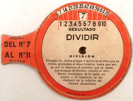 Reverso: Tabla Elemental de dividir (y multiplicar) VALLVERDÚ, dígitos del 7 al 11