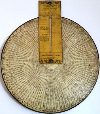 Tabla de interés simple y compuesto al 6%, Francisco SOLER y CASSAÑAS, año 1858, 35 cm diámetro
