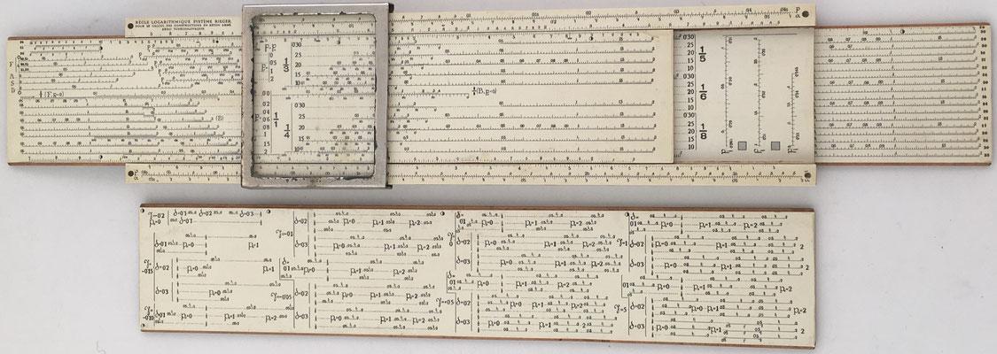 Regla logarítmica sistema J. RIEGER para hormigón armado, año 1923, 32x8x2 cm