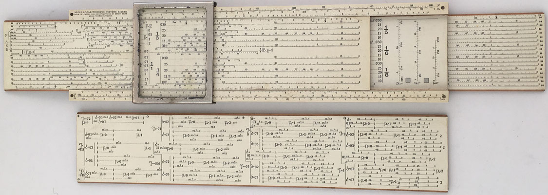 Regla logarítmica sistema Josef RIEGER para hormigón armado, año 1920, 32x8x2 cm