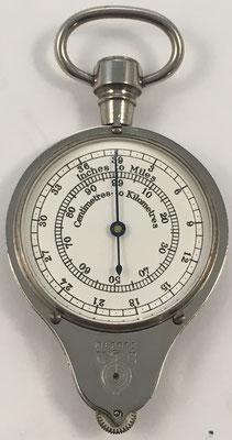 Opisómetro, curvímetro o medidor de distancias para mapas HC, cm a km y pulgadas a millas, fabricado en Francia por Henry Chatelain (HC), año 1920, 7 cm x 3 cm diámetro