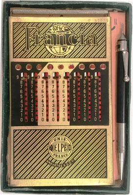 Ábaco de ranuras FRANCIA ( con 3 columnas para decimales) y punzón para realizar los cálculos, alojados en su caja de cartón