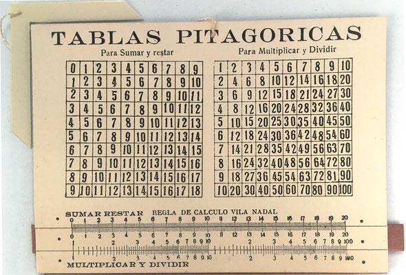 Tablas Pitagóricas y regla de cálculo elemental VILA NADAL, modelo con escalas para sumar, restar, multiplicar y dividir, Dr. Antonio Vila Nadal, hacia 1925, 13x9 cm