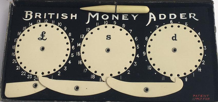 Calculadora British Money Adder, para moneda británica (libras, chelines y peniques), Inglaterra, 18x9 cm