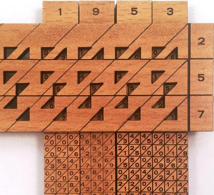 Cálculo de 1953x257=501921. El multiplicando se forma con las varillas numéricas 1,9,5,3 y sobre ellas se colocan las tres varillas lectoras 2,5,7 del multiplicador. El resultado se obtiene sumando las diagonales, de derecha a izquierda