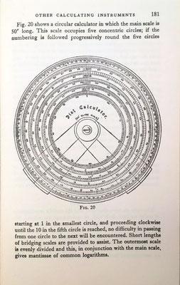 Ilustración de la regla de cálculo circular de 50'' de longitud