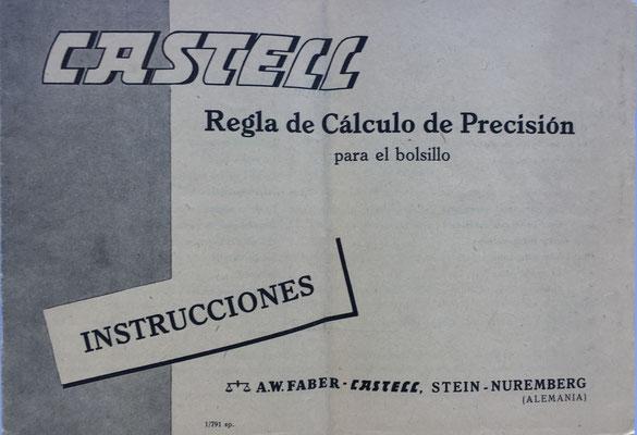 Regla de Cálculo de Precisión para el bolsillo, instrucciones de uso, A. W. FABER-CASTELL