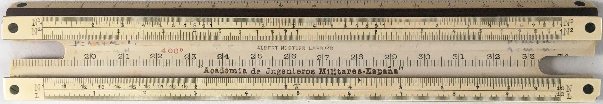 Regla para la Academia de Ingenieros Militares (España), encargada su fabricación a la casa alemana Nestler, año 1911