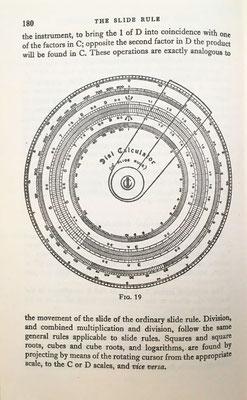 Ilustración de la regla de cálculo circular de 10'' de longitud