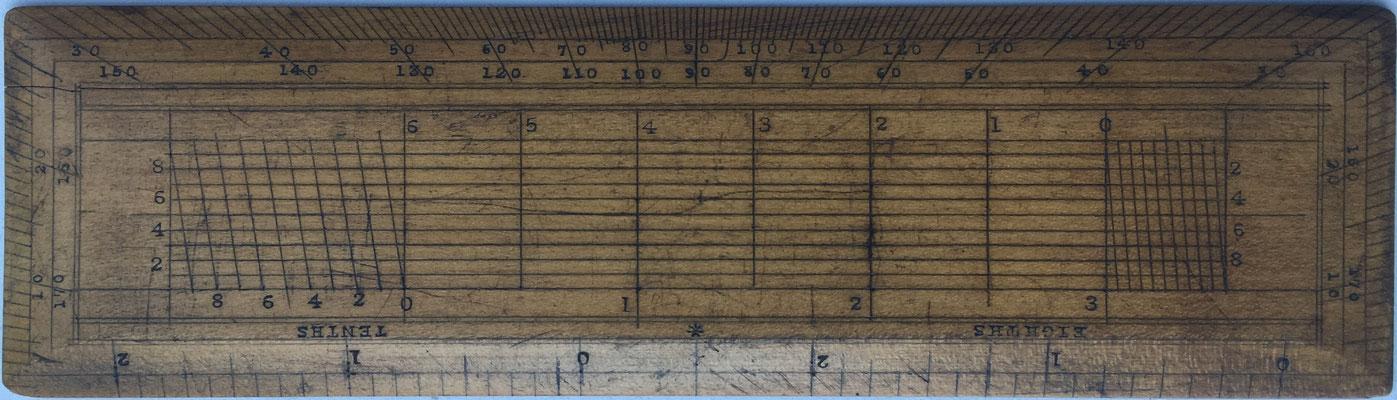 Transportador REEVES, fabricado por Reeves & Sons Ltd en Londres, se utiliza junto con el Sector para navegación y realización de cálculos, 11x4 cm