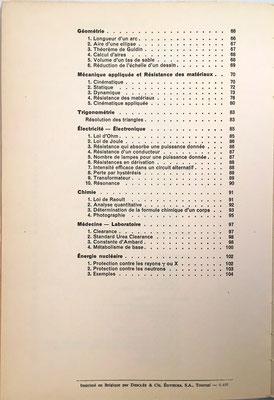 Indice del libro La règle à Calcul, C. Balestra y R. Riby