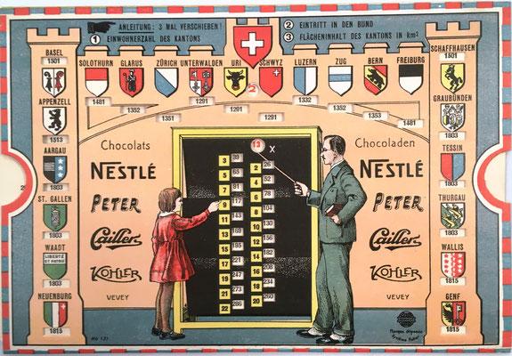 Regla para multiplicación NORMUS Sistema Huber, febricada por Jac. Huber and Company (Zürich, Suiza) con publicidad de chocolates. año 1931, 18x12 cm