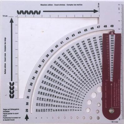 Reverso del calculador de tricotar y bastidor-contador PRYM