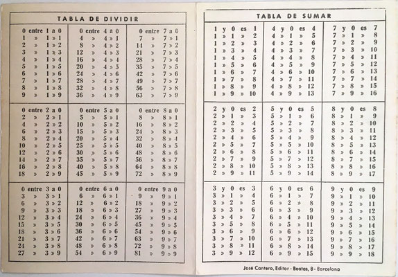 Reverso: tablas de restar y multiplicar, José Cantero (editor), Barcelona (España)