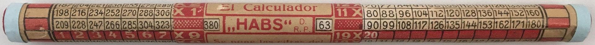 El Calculador HABS, 22 cm largo y 1.5 cm diámetro