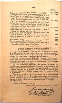 """En la página 528 se dan unas breves instrucciones para el uso de la nueva """"Pauta Numérica"""" proporcionada en la contraportada"""
