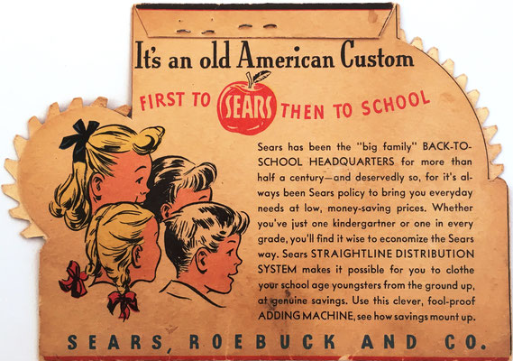 Reverso de SEARS Back to School, la empresa SEARS-ROEBUCK and Company fue fundada en 1891 por Richard Warren SEARS y Alvah Curtis ROEBUCK