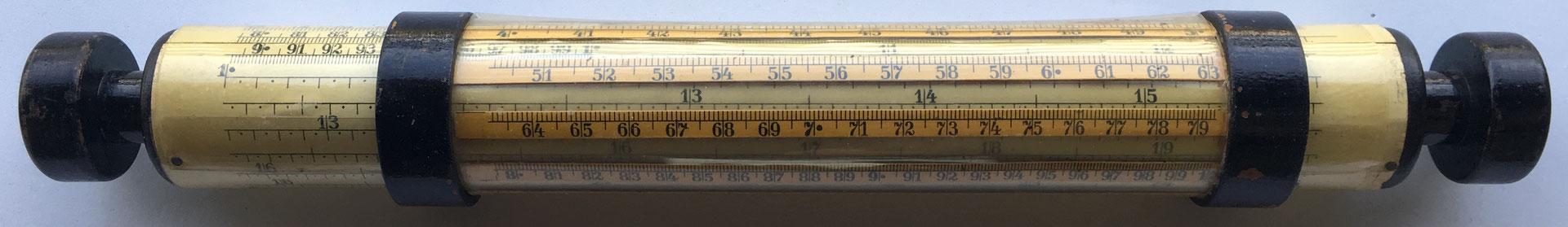german TRÖGER cylindrical slide rule de 1920, 31x4 cm diámetro