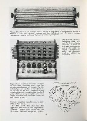 Incluye, asimismo, el reloj calculador de Schickard y la regla de cálculo cilíndrica de Thacher