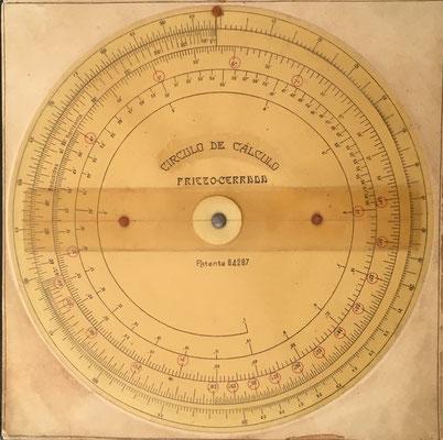 Círculo Logarítmico Calculador PRIETO-CERRADA, Juan Manuel PRIETO FERNÁNDEZ y Manuel CERRADA ZOYA (Zaragoza), patente nº 64287 del 12 de abril de 1917, 20 cm diámetro