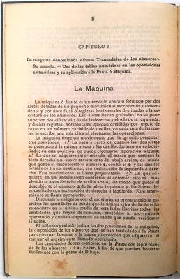 """El libro contiene las instrucciones para el uso de  la """"Pauta Trasmisiva de los Números"""", máquina útil para realizar cualquier multiplicación reduciéndola a la suma de sus productos parciales"""