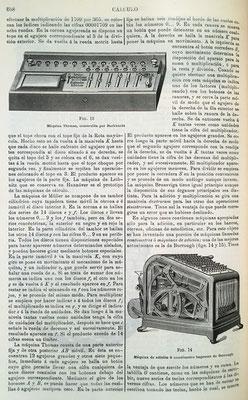 Dibujo de la máquina (aritmómetro) de Thomas y de la máquina de sumar (comtómetro impresor) de Burrough