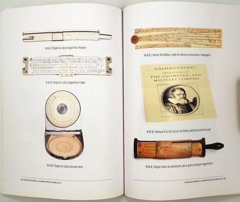 Páginas 42 y 43 del catálogo: reglas de cálculo lineal, circular y cilíndrica