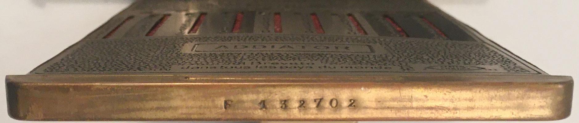 Ábaco de ranuras ADDIATOR, detalle de su s/n F-132702