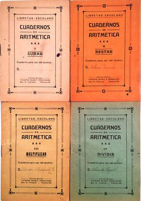 CUADERNOS DE ARITMÉTICA (Libretas Escolano), Vicente Marco Fernández, Valencia (España), 10x15 cm