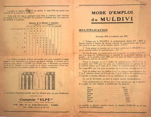 Instrucciones para el uso correcto del aparato combinado MULDIVI-ADDIATOR:  páginas 1 y 4