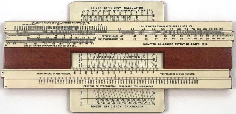 Regla The GALLAGHER-CROMPTON  para el cálculo de la eficiencia de calderas, año 1919, 25x12.5 cm