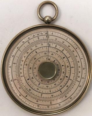 Reverso del círculo de cálculo HALDEN'S CALCULEX, fabricado por Joseph Halden